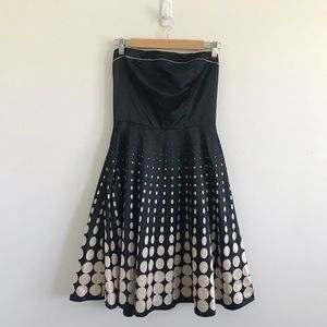 The Limited | Strapless Black White PolkaDot Dress
